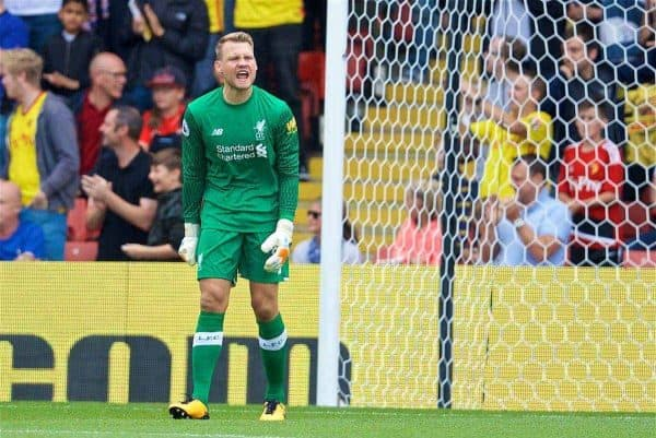 WATFORD, ENGLAND - Saturday, August 12, 2017: Liverpool's goalkeeper Simon Mignolet looks dejected as Watford score the opening goal during the FA Premier League match between Watford and Liverpool at Vicarage Road. (Pic by David Rawcliffe/Propaganda)