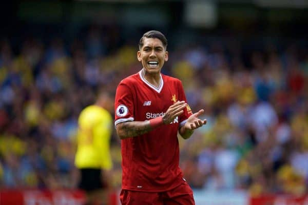 WATFORD, ENGLAND - Saturday, August 12, 2017: Liverpool's Roberto Firmino during the FA Premier League match between Watford and Liverpool at Vicarage Road. (Pic by David Rawcliffe/Propaganda)