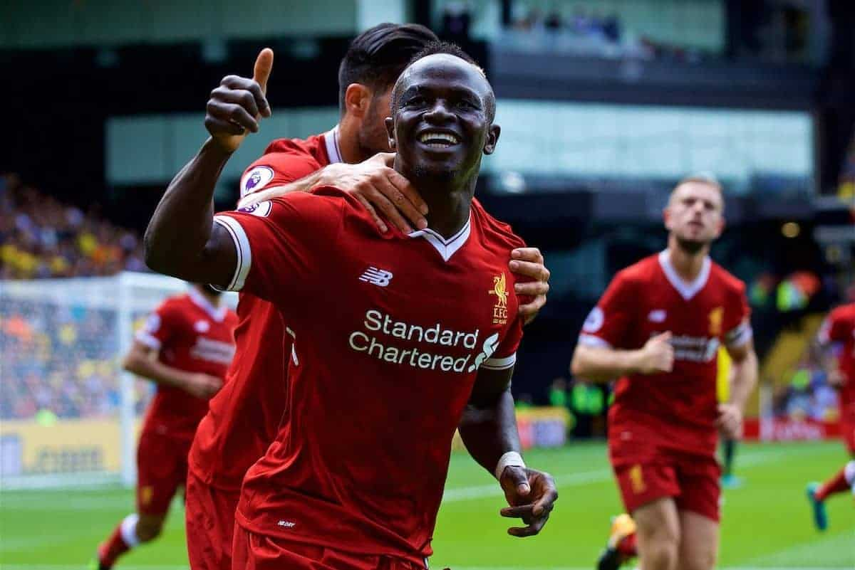WATFORD, ENGLAND - Saturday, August 12, 2017: Liverpool's Sadio Mane celebrates scoring the first equalising goal during the FA Premier League match between Watford and Liverpool at Vicarage Road. (Pic by David Rawcliffe/Propaganda)