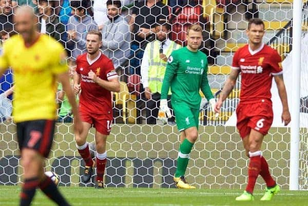 WATFORD, ENGLAND - Saturday, August 12, 2017: Liverpool's captain Jordan Henderson and goalkeeper Simon Mignolet look dejected as a score a second goal during the FA Premier League match between Watford and Liverpool at Vicarage Road. (Pic by David Rawcliffe/Propaganda)