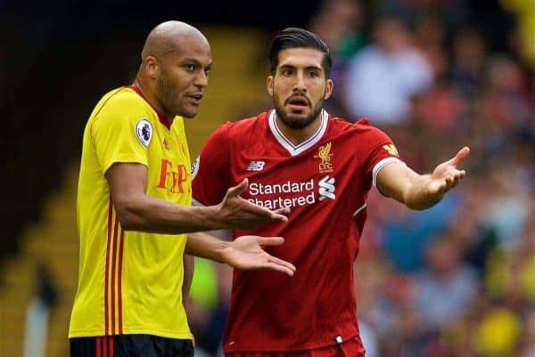 WATFORD, ENGLAND - Saturday, August 12, 2017: Liverpool's Emre Can argues with Watford's Younes Kaboul during the FA Premier League match between Watford and Liverpool at Vicarage Road. (Pic by David Rawcliffe/Propaganda)