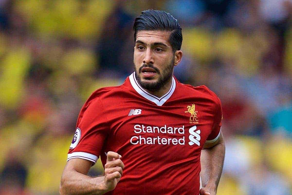 WATFORD, ENGLAND - Saturday, August 12, 2017: Liverpool's Emre Can during the FA Premier League match between Watford and Liverpool at Vicarage Road. (Pic by David Rawcliffe/Propaganda)