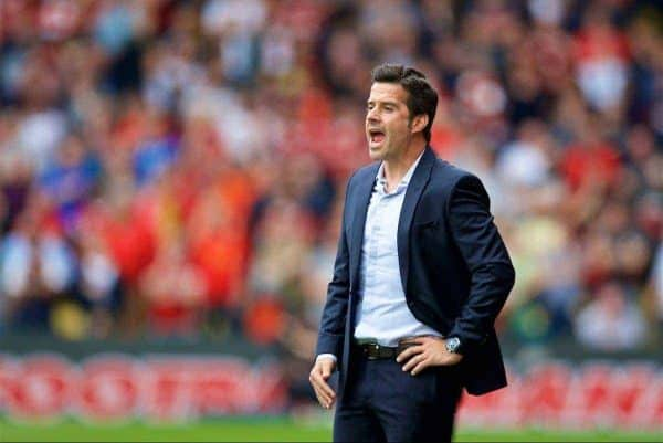WATFORD, ENGLAND - Saturday, August 12, 2017: Watford's manager Marco Silva during the FA Premier League match between Watford and Liverpool at Vicarage Road. (Pic by David Rawcliffe/Propaganda)