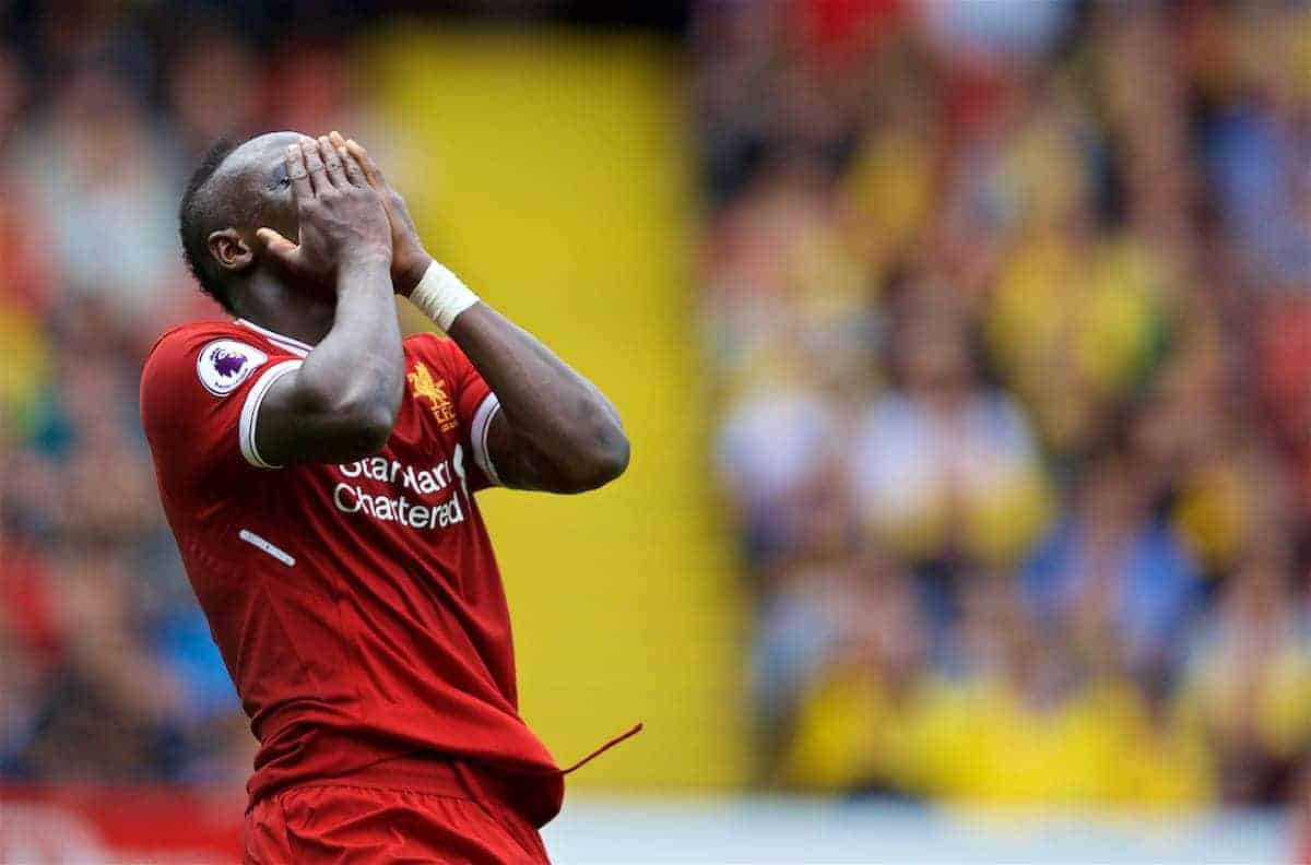 WATFORD, ENGLAND - Saturday, August 12, 2017: Liverpool's Sadio Mane looks dejected after missing a chance during the FA Premier League match between Watford and Liverpool at Vicarage Road. (Pic by David Rawcliffe/Propaganda)