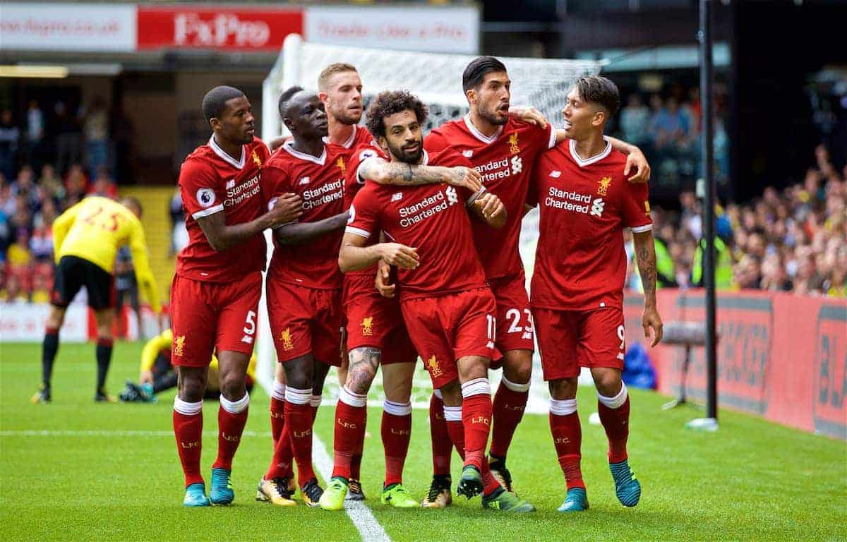WATFORD, ENGLAND - Saturday, August 12, 2017: Liverpool's Mohamed Salah celebrates scoring the third goal with team-mates during the FA Premier League match between Watford and Liverpool at Vicarage Road. (Pic by David Rawcliffe/Propaganda)