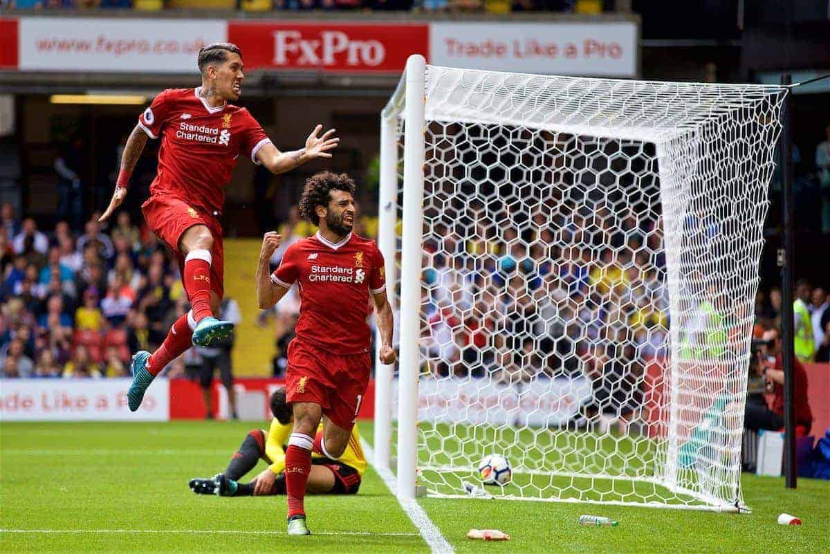 WATFORD, ENGLAND - Saturday, August 12, 2017: Liverpool's Mohamed Salah celebrates scoring the third goal during the FA Premier League match between Watford and Liverpool at Vicarage Road. (Pic by David Rawcliffe/Propaganda)