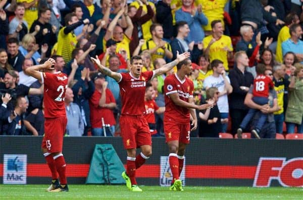WATFORD, ENGLAND - Saturday, August 12, 2017: Liverpool's Dejan Lovren appeals after Watford score an injury time equalising goal to level the score 3-3 during the FA Premier League match between Watford and Liverpool at Vicarage Road. (Pic by David Rawcliffe/Propaganda)