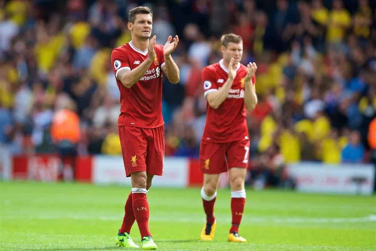 WATFORD, ENGLAND - Saturday, August 12, 2017: Liverpool's Dejan Lovren applauds the travelling supporters after the 3-3 draw during the FA Premier League match between Watford and Liverpool at Vicarage Road. (Pic by David Rawcliffe/Propaganda)