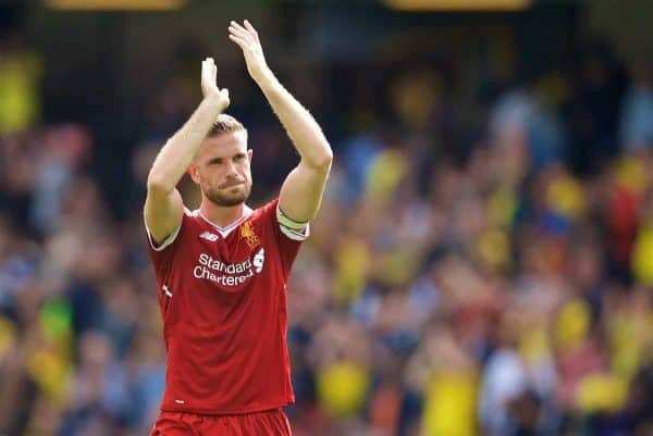 Liverpool's captain Jordan Henderson applauds the travelling supporters after the 3-3 draw during the FA Premier League match between Watford and Liverpool at Vicarage Road. (Pic by David Rawcliffe/Propaganda)