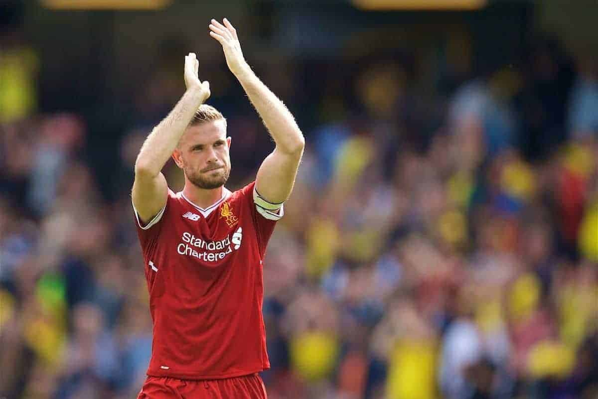 WATFORD, ENGLAND - Saturday, August 12, 2017: Liverpool's captain Jordan Henderson applauds the travelling supporters after the 3-3 draw during the FA Premier League match between Watford and Liverpool at Vicarage Road. (Pic by David Rawcliffe/Propaganda)