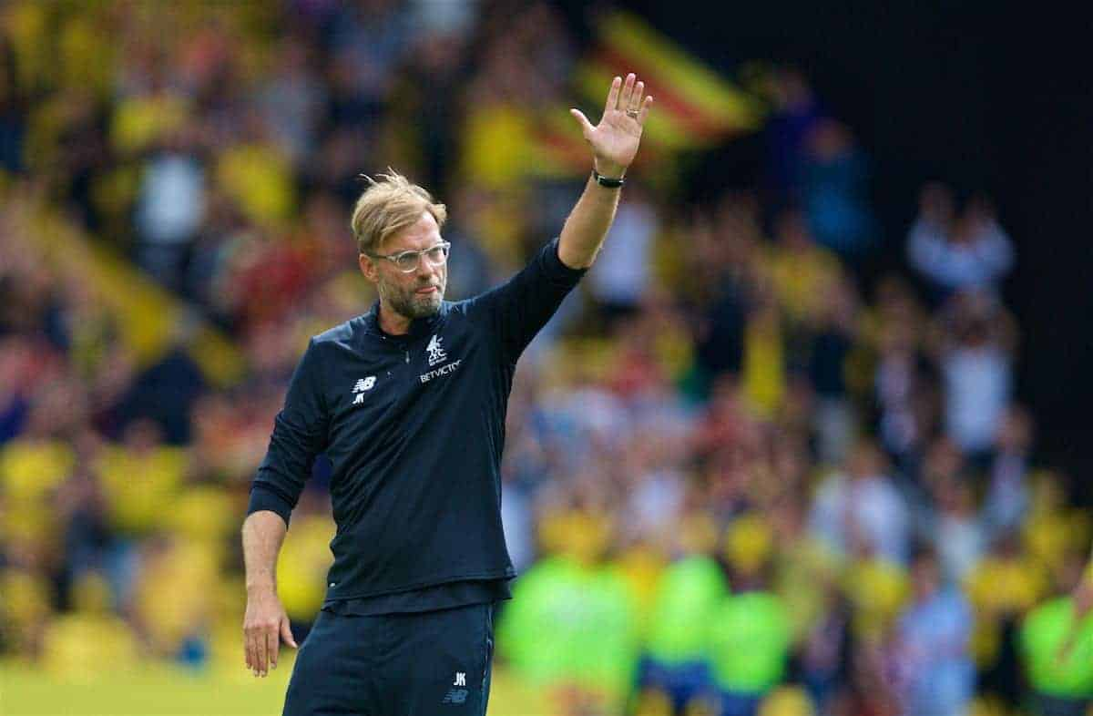 WATFORD, ENGLAND - Saturday, August 12, 2017: Liverpool's manager Jürgen Klopp applauds the travelling supporters after the 3-3 draw during the FA Premier League match between Watford and Liverpool at Vicarage Road. (Pic by David Rawcliffe/Propaganda)