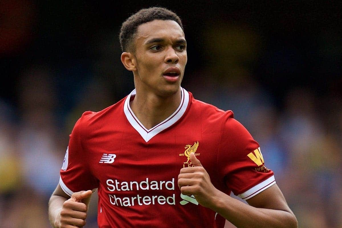 WATFORD, ENGLAND - Saturday, August 12, 2017: Liverpool's Trent Alexander-Arnold during the FA Premier League match between Watford and Liverpool at Vicarage Road. (Pic by David Rawcliffe/Propaganda)