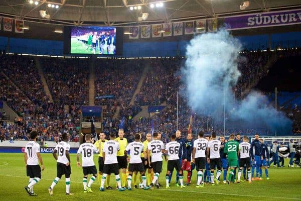 SINSHEIM, GERMANY - Tuesday, August 15, 2017: Liverpool and TSG 1899 Hoffenheim players shake hands during the UEFA Champions League Play-Off 1st Leg match between TSG 1899 Hoffenheim and Liverpool at the Rhein-Neckar-Arena. (Pic by David Rawcliffe/Propaganda)