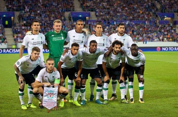 SINSHEIM, GERMANY - Tuesday, August 15, 2017: Liverpool's players line-up for a team group photograph before the UEFA Champions League Play-Off 1st Leg match between TSG 1899 Hoffenheim and Liverpool at the Rhein-Neckar-Arena. Back row L-R: Dejan Lovren, goalkeeper Simon Mignolet, Joel Matip, 9, Emre Can. Front row L-R: Alberto Moreno, captain Jordan Henderson, Trent Alexander-Arnold, Georginio Wijnaldum, Mohamed Salah, Sadio Mane. (Pic by David Rawcliffe/Propaganda)
