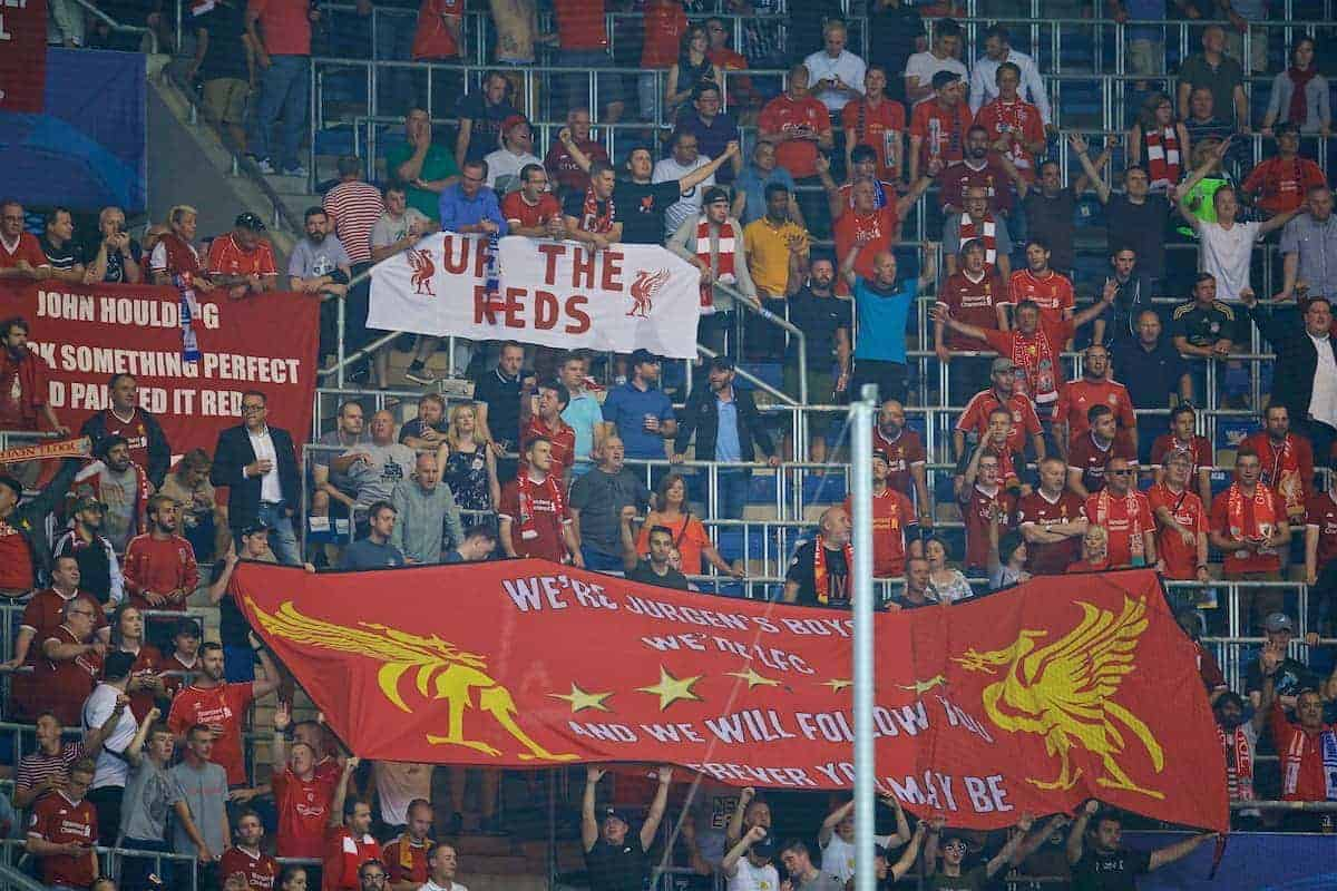 SINSHEIM, GERMANY - Tuesday, August 15, 2017: Liverpool supporters before the UEFA Champions League Play-Off 1st Leg match between TSG 1899 Hoffenheim and Liverpool at the Rhein-Neckar-Arena. (Pic by David Rawcliffe/Propaganda)