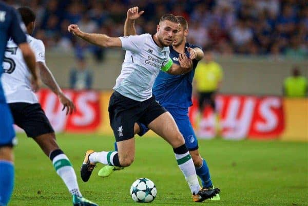 SINSHEIM, GERMANY - Tuesday, August 15, 2017: Liverpool's captain Jordan Henderson during the UEFA Champions League Play-Off 1st Leg match between TSG 1899 Hoffenheim and Liverpool at the Rhein-Neckar-Arena. (Pic by David Rawcliffe/Propaganda)