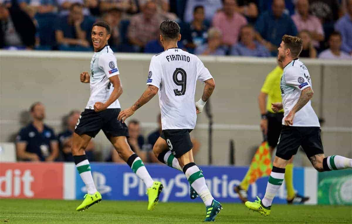 SINSHEIM, GERMANY - Tuesday, August 15, 2017: Liverpool's Trent Alexander-Arnold scores the first goal during the UEFA Champions League Play-Off 1st Leg match between TSG 1899 Hoffenheim and Liverpool at the Rhein-Neckar-Arena. (Pic by David Rawcliffe/Propaganda)