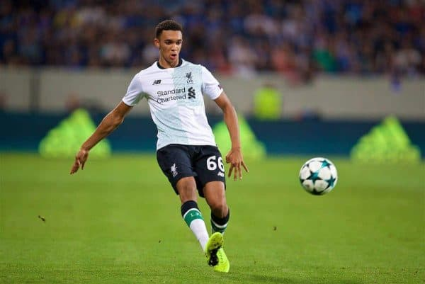 SINSHEIM, GERMANY - Tuesday, August 15, 2017: Liverpool's Trent Alexander-Arnold during the UEFA Champions League Play-Off 1st Leg match between TSG 1899 Hoffenheim and Liverpool at the Rhein-Neckar-Arena. (Pic by David Rawcliffe/Propaganda)