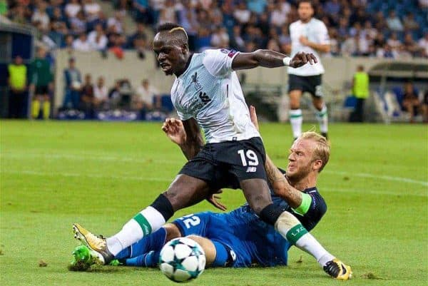 SINSHEIM, GERMANY - Tuesday, August 15, 2017: Liverpool's Sadio Mane and TSG 1899 Hoffenheim's Kevin Vogt during the UEFA Champions League Play-Off 1st Leg match between TSG 1899 Hoffenheim and Liverpool at the Rhein-Neckar-Arena. (Pic by David Rawcliffe/Propaganda)