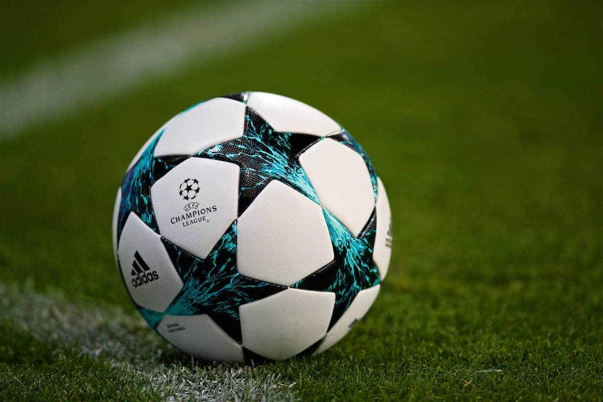 SINSHEIM, GERMANY - Tuesday, August 15, 2017: The official Adidas match-ball during the UEFA Champions League Play-Off 1st Leg match between TSG 1899 Hoffenheim and Liverpool at the Rhein-Neckar-Arena. (Pic by David Rawcliffe/Propaganda)
