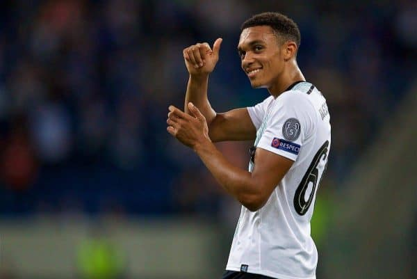 SINSHEIM, GERMANY - Tuesday, August 15, 2017: Liverpool's goal-scorer Trent Alexander-Arnold applauds the travelling supporters after beating TSG 1899 Hoffenheim 2-1 during the UEFA Champions League Play-Off 1st Leg match between TSG 1899 Hoffenheim and Liverpool at the Rhein-Neckar-Arena. (Pic by David Rawcliffe/Propaganda)