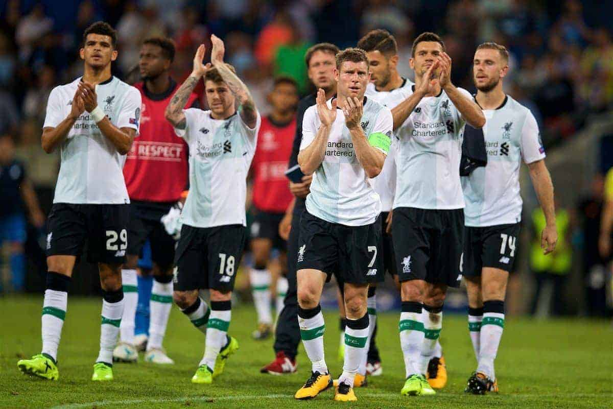 SINSHEIM, GERMANY - Tuesday, August 15, 2017: Liverpool's goal-scorer James Milner applauds the travelling supporters after beating TSG 1899 Hoffenheim 2-1 during the UEFA Champions League Play-Off 1st Leg match between TSG 1899 Hoffenheim and Liverpool at the Rhein-Neckar-Arena. (Pic by David Rawcliffe/Propaganda)