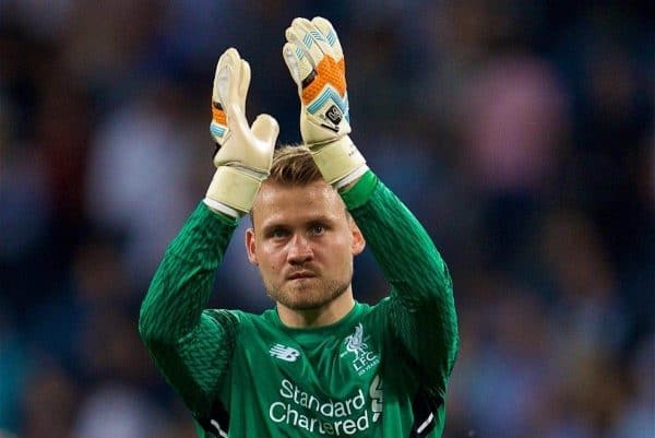 SINSHEIM, GERMANY - Tuesday, August 15, 2017: Liverpool's goalkeeper Simon Mignolet applauds the travelling supporters after beating TSG 1899 Hoffenheim 2-1 during the UEFA Champions League Play-Off 1st Leg match between TSG 1899 Hoffenheim and Liverpool at the Rhein-Neckar-Arena. (Pic by David Rawcliffe/Propaganda)