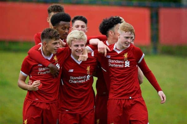 KIRKBY, ENGLAND - Saturday, August 19, 2017: Liverpool's Edvard Sandvik Tagseth celebrates scoring the first goal during an Under-18 FA Premier League match between Liverpool and Blackburn Rovers at the Kirkby Academy. (Pic by David Rawcliffe/Propaganda)