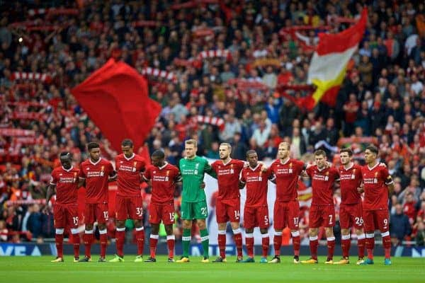 LIVERPOOL, ENGLAND - Saturday, August 19, 2017: Liverpool players stand in silence to remember the victims of the Barcelona car crash before the FA Premier League match between Liverpool and Crystal Palace at Anfield. (Pic by David Rawcliffe/Propaganda)