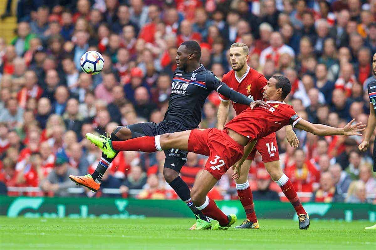 LIVERPOOL, ENGLAND - Saturday, August 19, 2017: Liverpool's Joel Matip and Crystal Palace's Christian Benteke during the FA Premier League match between Liverpool and Crystal Palace at Anfield. (Pic by David Rawcliffe/Propaganda)