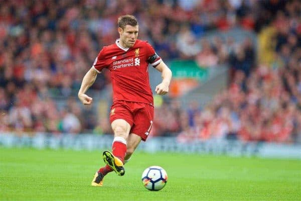 Liverpool's James Milner during the FA Premier League match between Liverpool and Crystal Palace at Anfield. (Pic by David Rawcliffe/Propaganda)