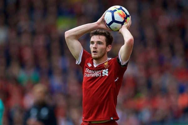 LIVERPOOL, ENGLAND - Saturday, August 19, 2017: Liverpool's Andy Robertson during the FA Premier League match between Liverpool and Crystal Palace at Anfield. (Pic by David Rawcliffe/Propaganda)