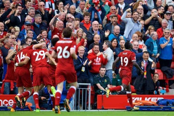 LIVERPOOL, ENGLAND - Saturday, August 19, 2017: Liverpool's Sadio Mane celebrates scoring the first goal during the FA Premier League match between Liverpool and Crystal Palace at Anfield. (Pic by David Rawcliffe/Propaganda)