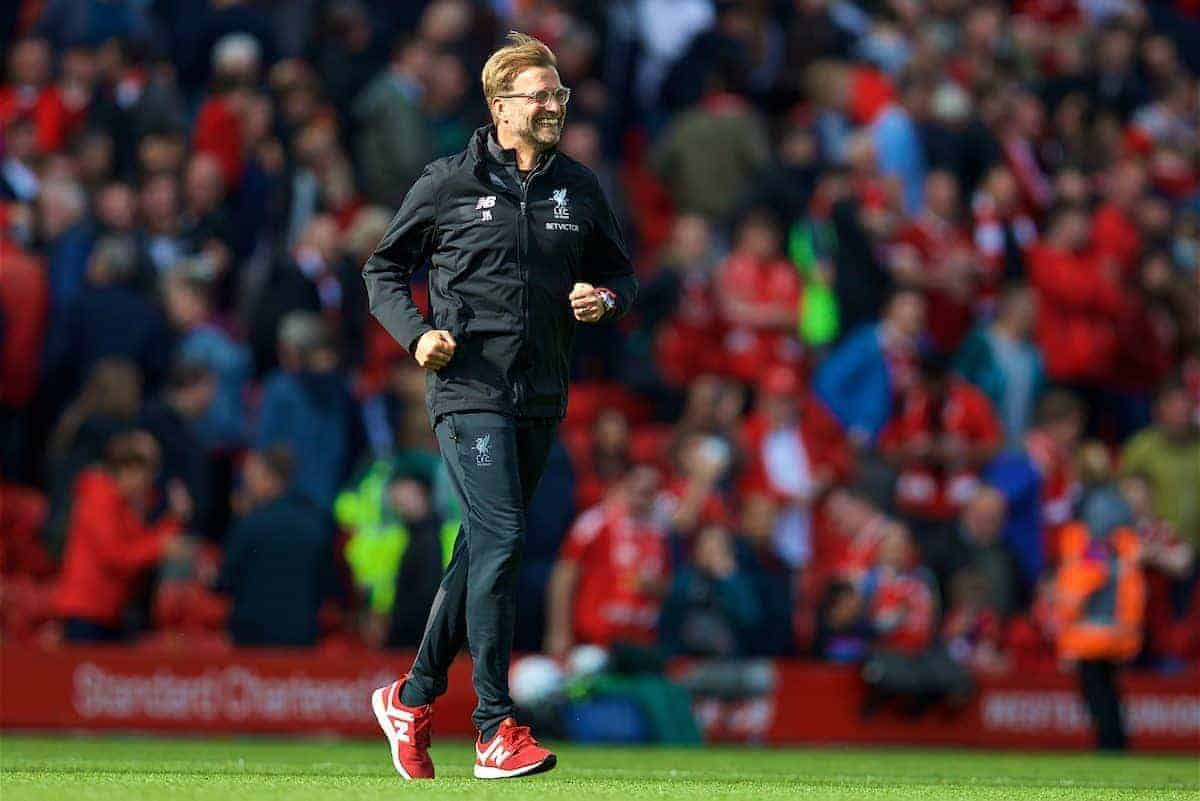 LIVERPOOL, ENGLAND - Saturday, August 19, 2017: Liverpool's manager Jürgen Klopp celebrates the 1-0 victory during the FA Premier League match between Liverpool and Crystal Palace at Anfield. (Pic by David Rawcliffe/Propaganda)