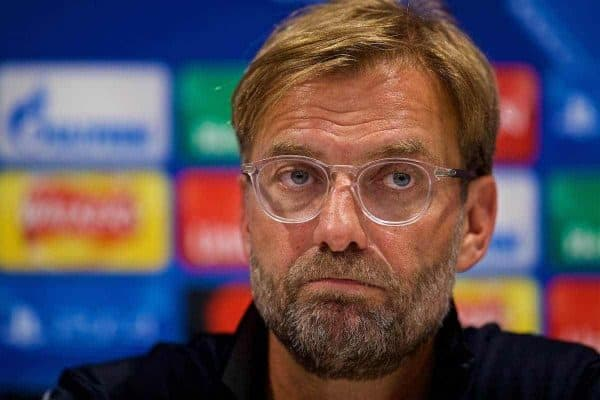 LIVERPOOL, ENGLAND - Tuesday, August 22, 2017: Liverpool's manager Jürgen Klopp during a press conference at Melwood Training Ground ahead of the UEFA Champions League Play-Off 2nd Leg match against TSG 1899 Hoffenheim. (Pic by David Rawcliffe/Propaganda)