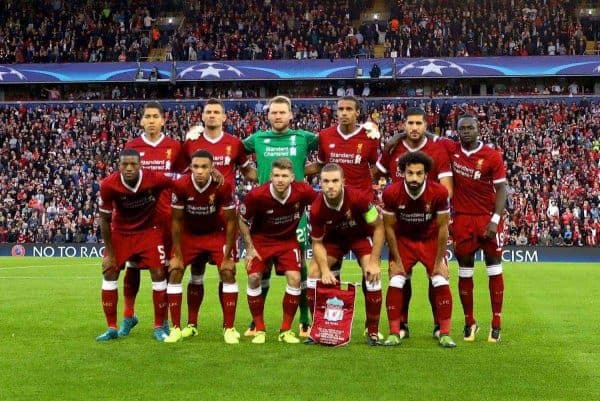 LIVERPOOL, ENGLAND - Wednesday, August 23, 2017: Liverpool's players line-up for a team group photograph before the UEFA Champions League Play-Off 2nd Leg match between Liverpool and TSG 1899 Hoffenheim at Anfield. Back row L-R: Roberto Firmino, Dejan Lovren, goalkeeper Simon Mignolet, Joel Matip, Emre Can, Sadio Mane. Front row L-R: Georginio Wijnaldum, Trent Alexander-Arnold, Alberto Moreno, captain Jordan Henderson, Mohamed Salah. (Pic by David Rawcliffe/Propaganda)