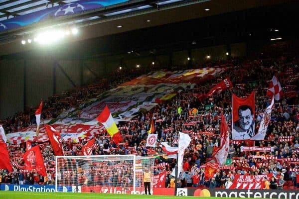 LIVERPOOL, ENGLAND - Wednesday, August 23, 2017: Liverpool supporters on the Spion Kop during the UEFA Champions League Play-Off 2nd Leg match between Liverpool and TSG 1899 Hoffenheim at Anfield. (Pic by David Rawcliffe/Propaganda)