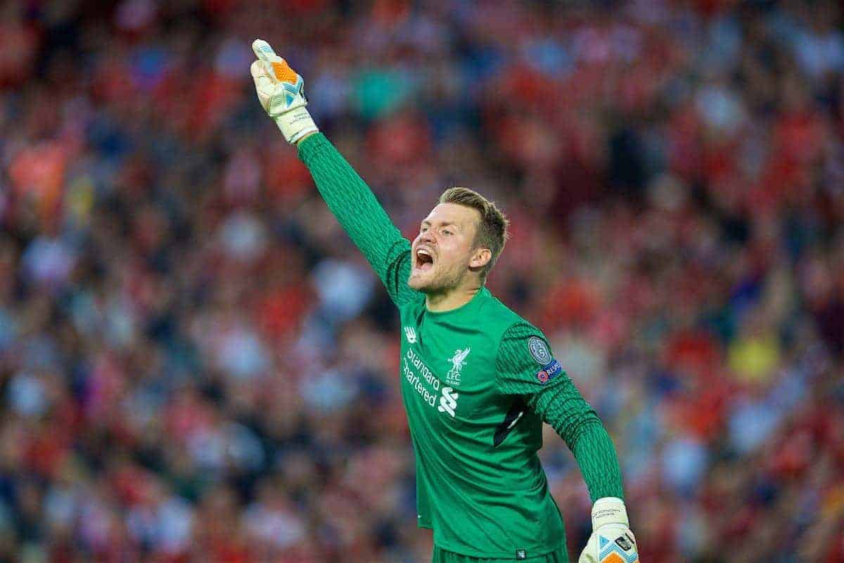 LIVERPOOL, ENGLAND - Wednesday, August 23, 2017: Liverpool's goalkeeper Simon Mignolet during the UEFA Champions League Play-Off 2nd Leg match between Liverpool and TSG 1899 Hoffenheim at Anfield. (Pic by David Rawcliffe/Propaganda)