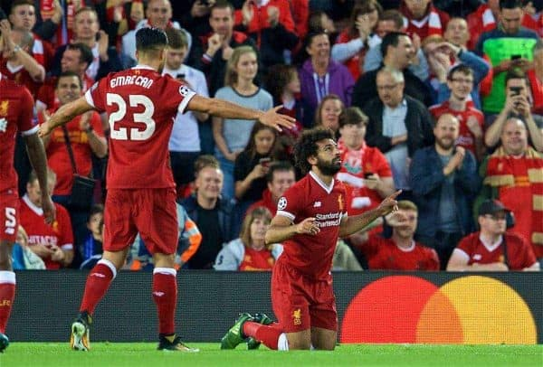 LIVERPOOL, ENGLAND - Wednesday, August 23, 2017: Liverpool's Mohamed Salah prays as he celebrates scoring the second goal during the UEFA Champions League Play-Off 2nd Leg match between Liverpool and TSG 1899 Hoffenheim at Anfield. (Pic by David Rawcliffe/Propaganda)