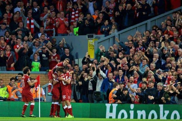 LIVERPOOL, ENGLAND - Wednesday, August 23, 2017: Liverpool's Emre Can celebrates scoring the third goal during the UEFA Champions League Play-Off 2nd Leg match between Liverpool and TSG 1899 Hoffenheim at Anfield. (Pic by David Rawcliffe/Propaganda)