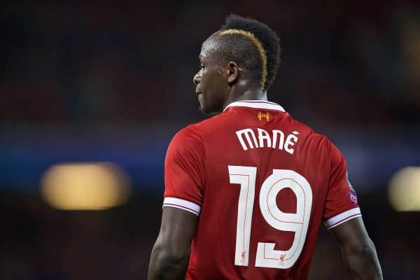 LIVERPOOL, ENGLAND - Wednesday, August 23, 2017: Liverpool's Sadio Mane during the UEFA Champions League Play-Off 2nd Leg match between Liverpool and TSG 1899 Hoffenheim at Anfield. (Pic by David Rawcliffe/Propaganda)