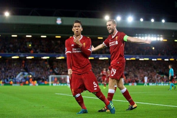 LIVERPOOL, ENGLAND - Wednesday, August 23, 2017: Liverpool's Roberto Firmino celebrates scoring the fourth goal during the UEFA Champions League Play-Off 2nd Leg match between Liverpool and TSG 1899 Hoffenheim at Anfield. (Pic by David Rawcliffe/Propaganda)