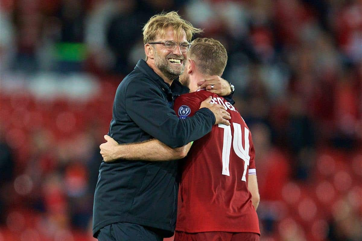 LIVERPOOL, ENGLAND - Wednesday, August 23, 2017: Liverpool's manager Jürgen Klopp celebrates his side's 4-2 victory (6-3 on aggregate) with captain Jordan Henderson during the UEFA Champions League Play-Off 2nd Leg match between Liverpool and TSG 1899 Hoffenheim at Anfield. (Pic by David Rawcliffe/Propaganda)