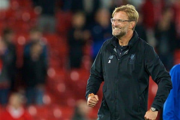 LIVERPOOL, ENGLAND - Wednesday, August 23, 2017: Liverpool's manager Jürgen Klopp celebrates his side's 4-2 victory (6-3 on aggregate) during the UEFA Champions League Play-Off 2nd Leg match between Liverpool and TSG 1899 Hoffenheim at Anfield. (Pic by David Rawcliffe/Propaganda)
