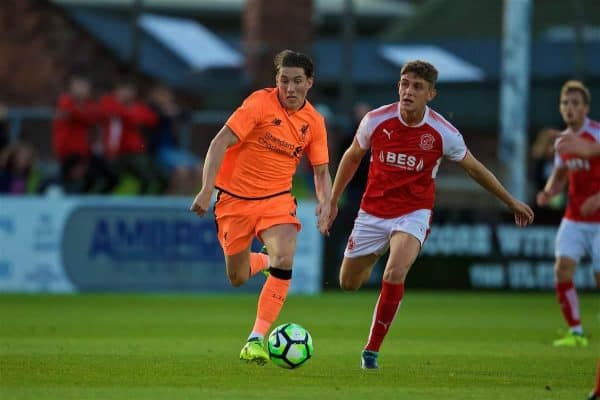 LEYLAND, ENGLAND - Friday, August 25, 2017: Liverpool's Harry Wilson during the Lancashire Senior Cup Final match between Fleetwood Town and Liverpool Under-23's at the County Ground. (Pic by Propaganda)