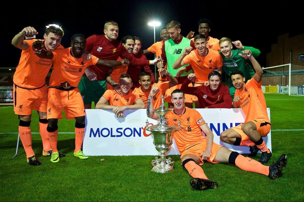 LEYLAND, ENGLAND - Friday, August 25, 2017: Liverpool's captain Corey Whelan with the trophy after beating Fleetwood Town on penalties to win the Lancashire Senior Cup Final match between Fleetwood Town and Liverpool Under-23's at the County Ground. Bobby Adekanye, goalkeeper Andy Firth, Danny Ings, Harry Wilson, Mich'el Parker, goalkeeper Caoimhin Kelleher, Paulo Alves, Yan Dhanda, George Johnston. (Pic by Propaganda)