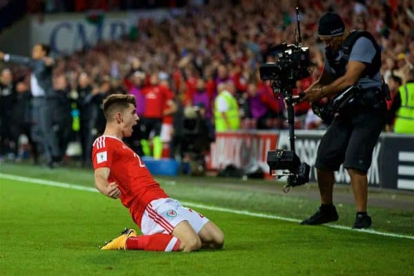 CARDIFF, WALES - Saturday, September 2, 2017: Wales' substitute Ben Woodburn celebrates scoring the first goal, on his debut, during the 2018 FIFA World Cup Qualifying Group D match between Wales and Austria at the Cardiff City Stadium. (Pic by David Rawcliffe/Propaganda)