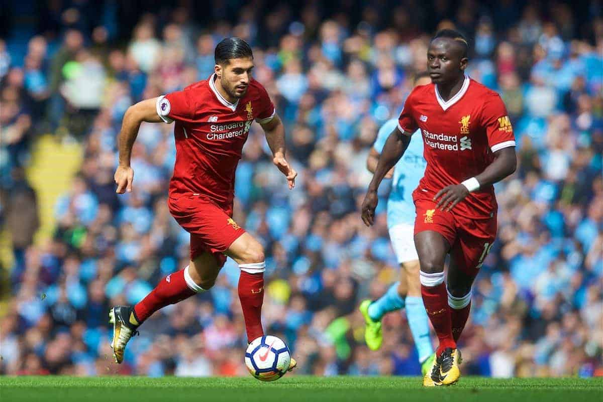 MANCHESTER, ENGLAND - Saturday, September 9, 2017: Liverpool's Emre Can and Sadio Mane during the FA Premier League match between Manchester City and Liverpool at the City of Manchester Stadium. (Pic by David Rawcliffe/Propaganda)