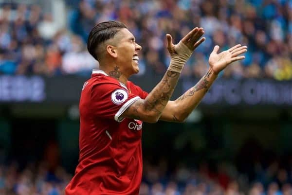 MANCHESTER, ENGLAND - Saturday, September 9, 2017: Liverpool's Roberto Firmino looks dejected after missing a chance during the FA Premier League match between Manchester City and Liverpool at the City of Manchester Stadium. (Pic by David Rawcliffe/Propaganda)