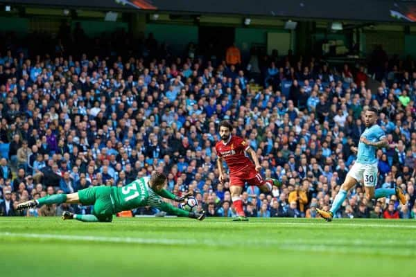 MANCHESTER, ENGLAND - Saturday, September 9, 2017: Liverpool's Mohamed Salah sees his shot saved by Manchester City's goalkeeper Ederson Moraes during the FA Premier League match between Manchester City and Liverpool at the City of Manchester Stadium. (Pic by David Rawcliffe/Propaganda)